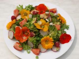 Salat mit Kapuzinerkresse-Blüten